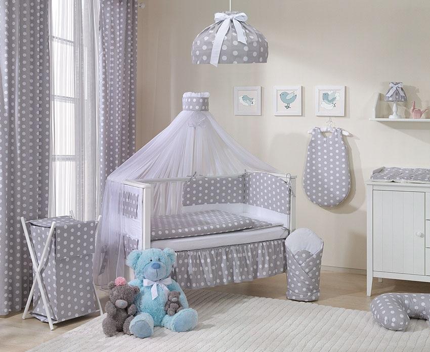 bettw sche set punkten grau 6 teilig. Black Bedroom Furniture Sets. Home Design Ideas